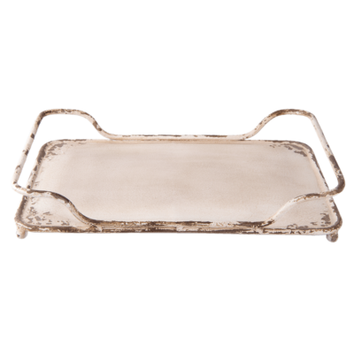 Dienblad crème ijzer rechthoek medium