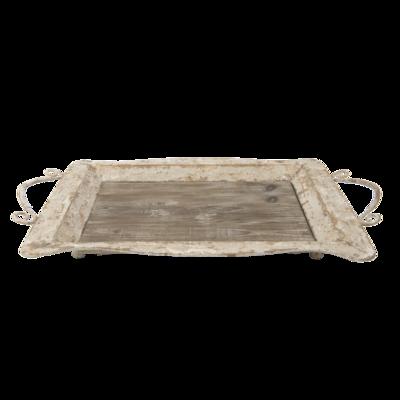Dienblad rechthoek hout met ijzer