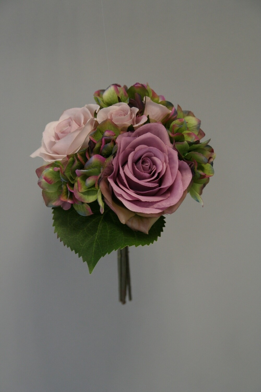 Gemengd boeket rozen/hortensia 21 cm