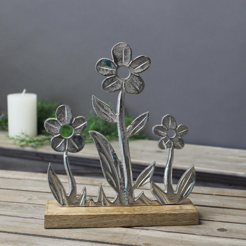 Aluminium bloemenweide op houten voet