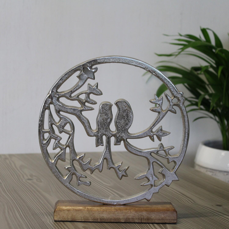 Aluminium cirkel met vogels op boomtak klein
