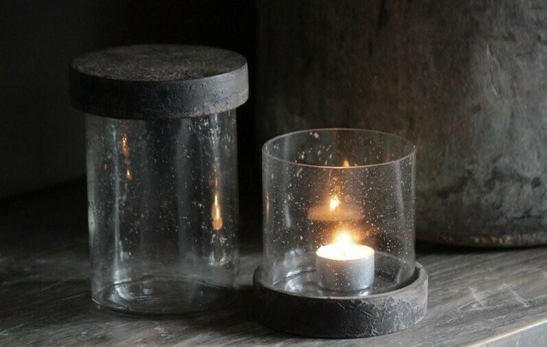 Glazen Windlicht / Pot met deksel Small