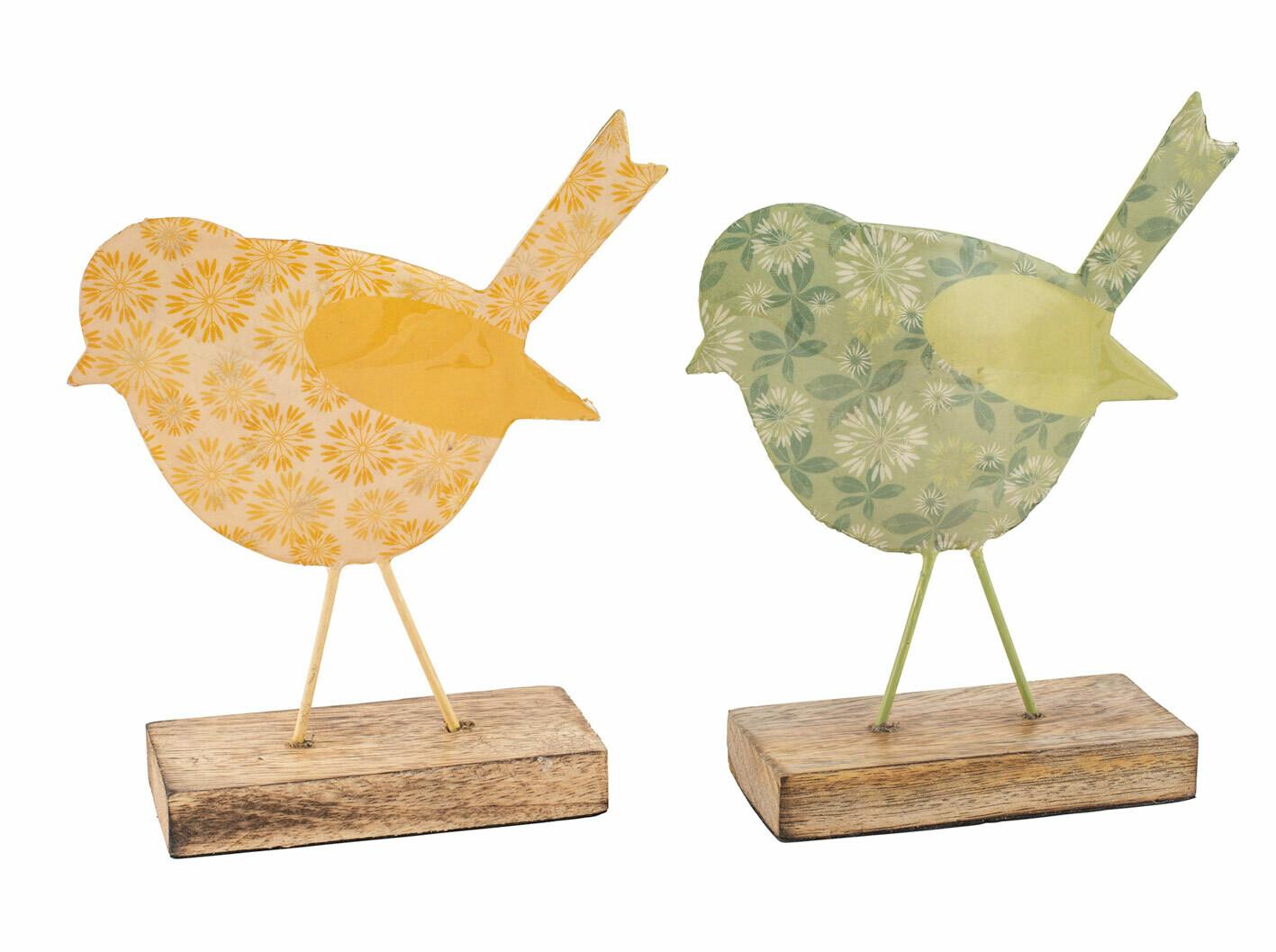 Vogel metaal groen op houten voet