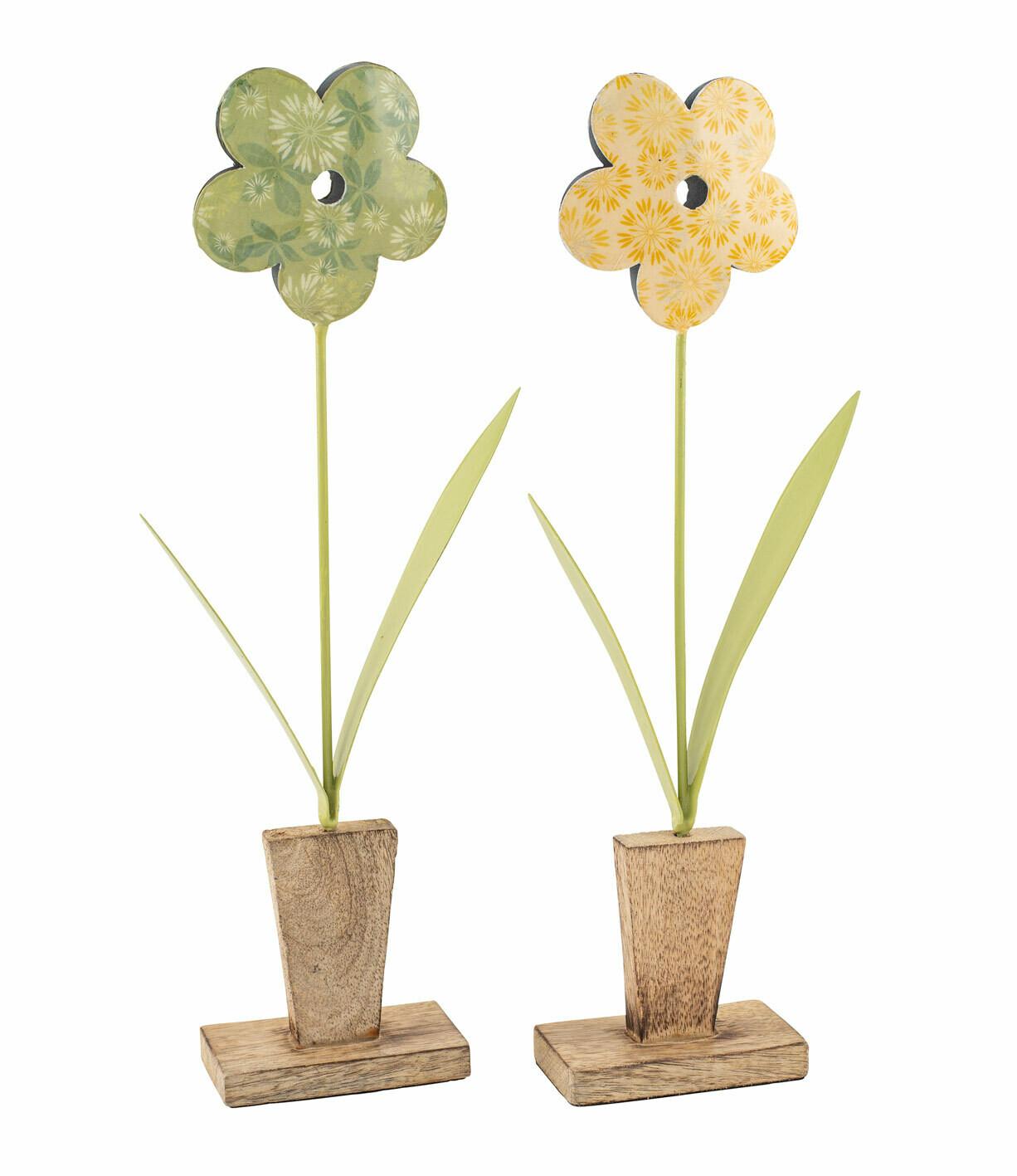 Bloem metaal geel op houten voet