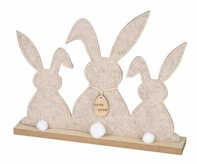 Trio vilten konijntjes op houten voet