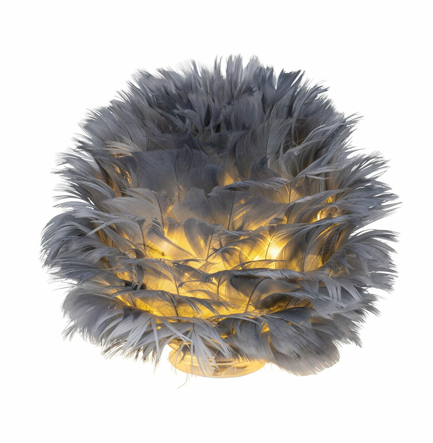 LED-bal staand grijze veertjes groot