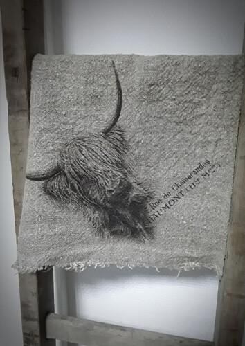 Doek shabby Hooglander 45 x 45 cm