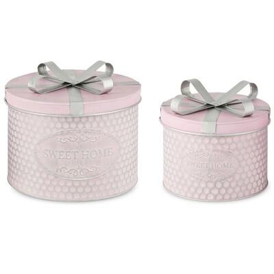 Set 2 dozen rond 'Sweet Home', metaal, roze met strik