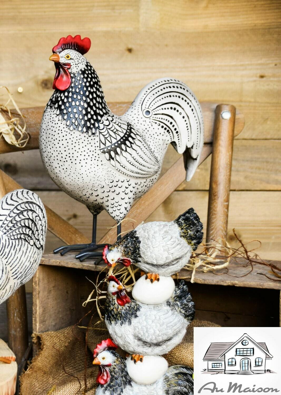 Trio kippen wit/zwart