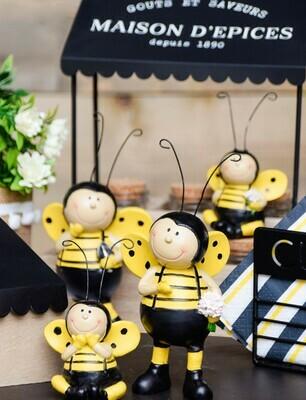 Set van 2 zittende bijen zwart/geel