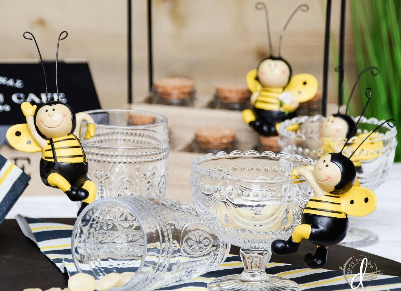 Set van 2 hangende bijen zwart/geel