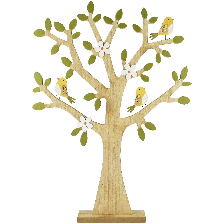 Lenteboom met vogels, hout, groen/geel groot