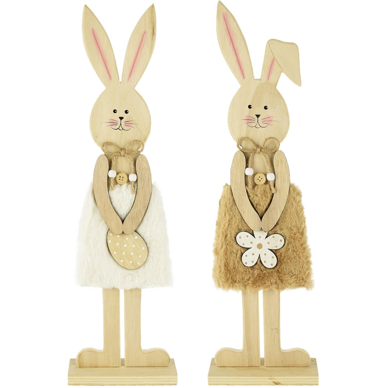 Set 2 bunnies hout/stof naturel/bruin, hij & zij