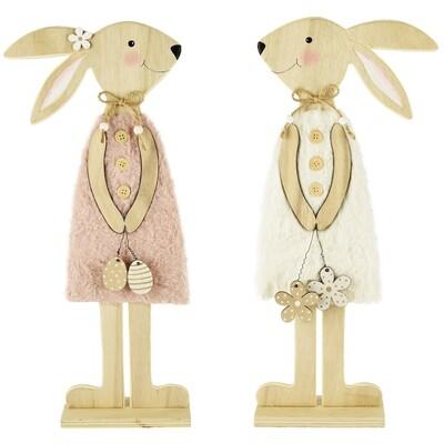 Set 2 bunnies hout/stof naturel/roze hij & zij