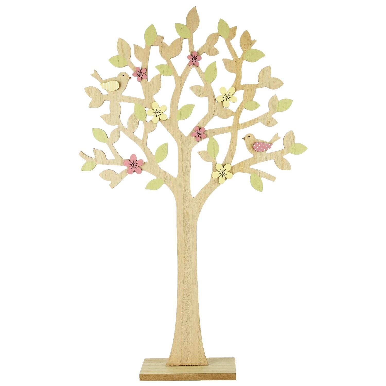Lenteboom met bloemen, hout, groen/roze