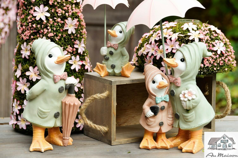 Koppel eenden met paraplu groen/roze