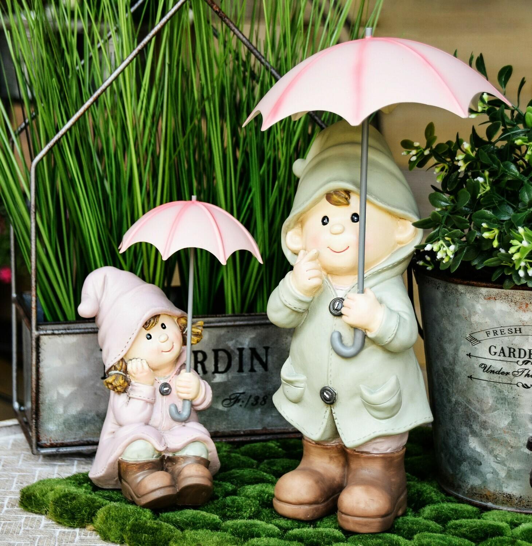Set jongen & meisje met paraplu
