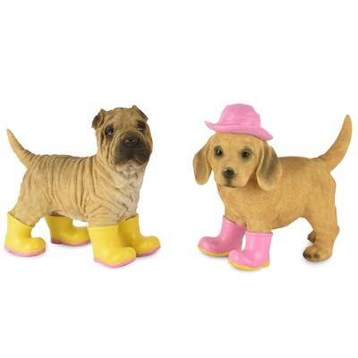 Set 2 hondjes met laarsjes geel/roze