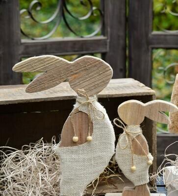 Konijn hout met fluffy kledij, naturel/wit klein