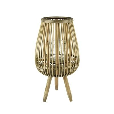 Lantaarn naturel gelijnd op pootjes, bamboe/glas