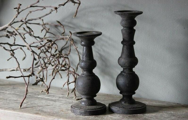 Houten Kandelaar ''Vintage Grey'' maat L