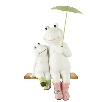 Koppel kikkers zittend met paraplu wit/groen/roze