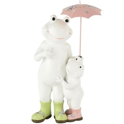 Koppel kikkers staand met paraplu wit/groen/roze