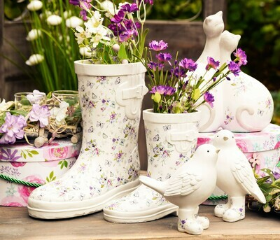 Laars wit met bloemen groot