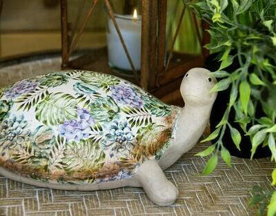 Schildpad glanzend met bloemen