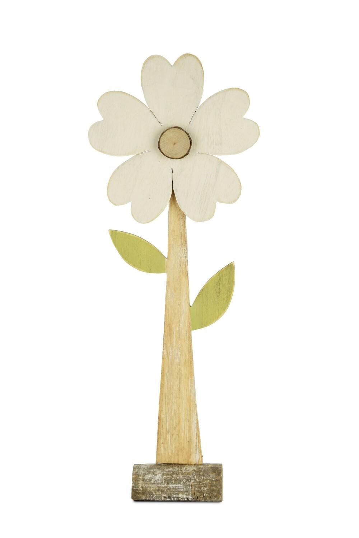 Bloem wit op voet hout groot