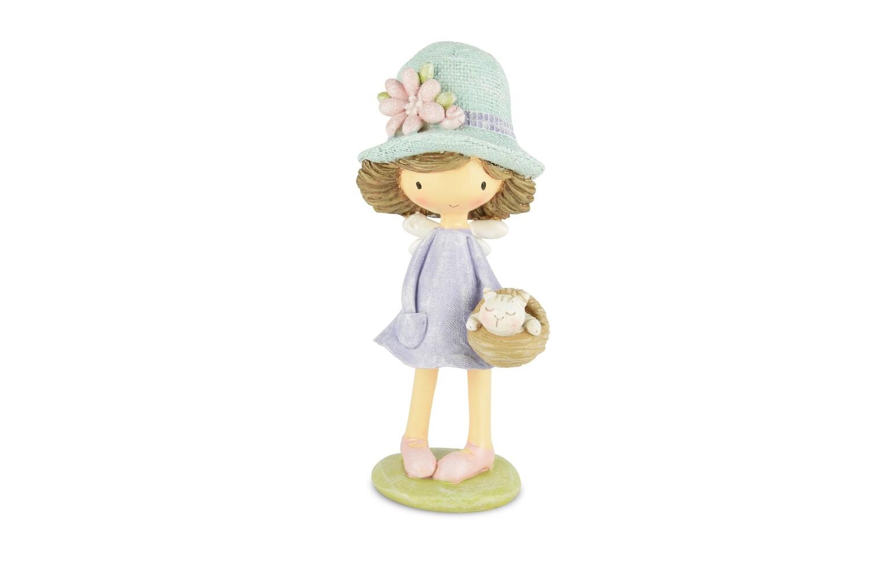 Meisje staand met hoed & mandje