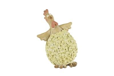 Kip staand met groen bloemenrelief
