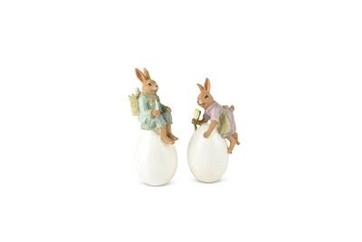 Set 2 bunnies vintage op ei hij & zij