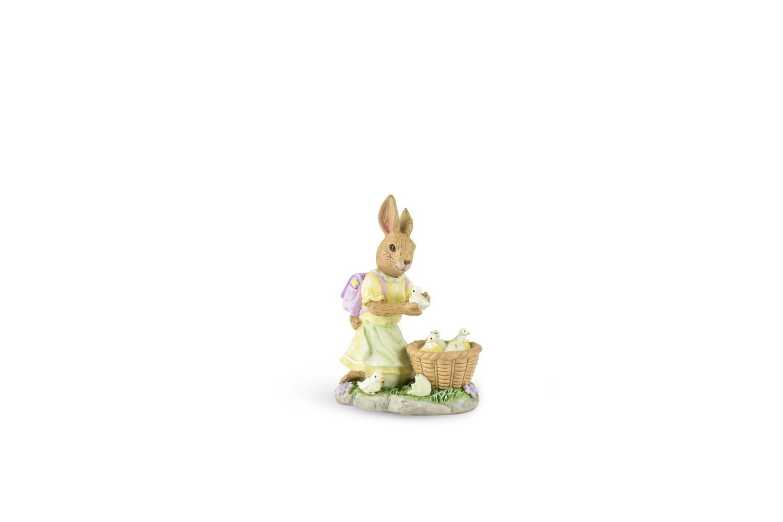 Bunnyvrouwtje met kuikenmand, lila/geel