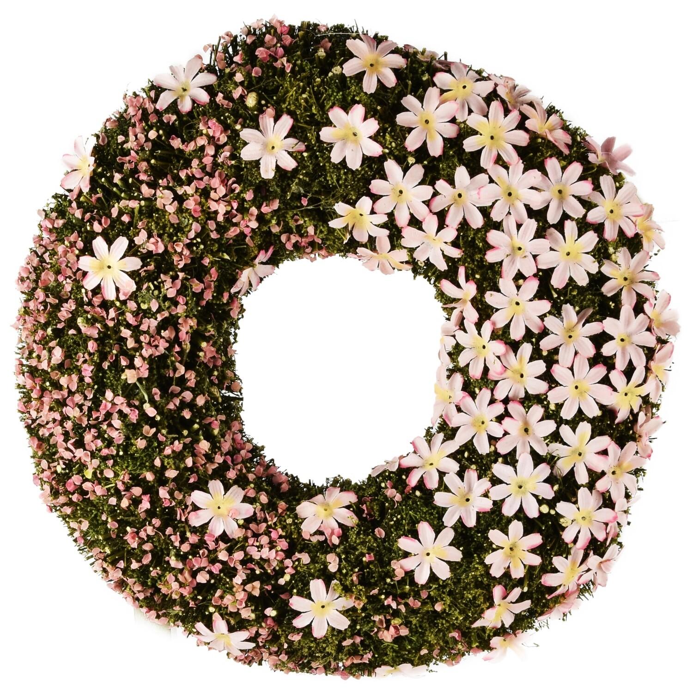 Krans rond met bloemetjes groen/roze, mos + blaadjes
