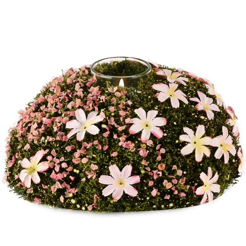 Tafelstuk/theelicht met bloemetjes groen/roze, mos + blaadjes