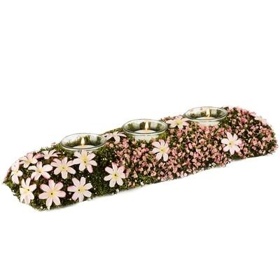 Tafelstuk 3 theelichten, met bloemetjes groen/roze, mos + blaadjes