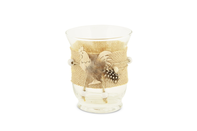 Theelicht glas met kippetje