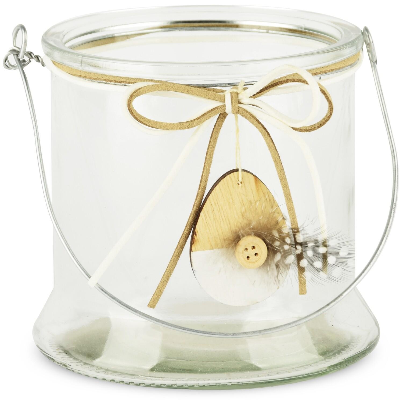Theelicht glas met ei-hanger