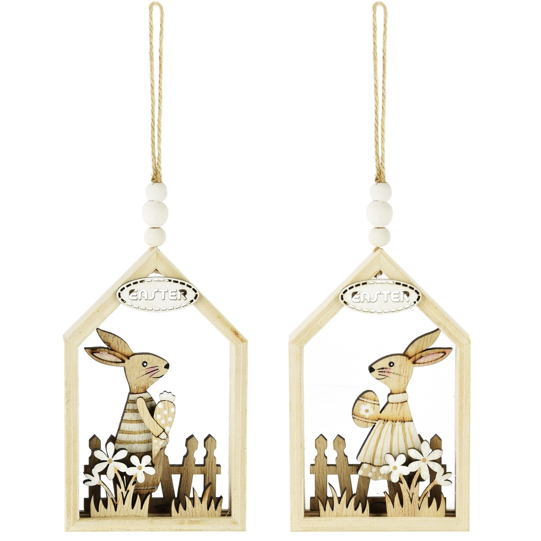 Set 2 hangers huisje met bunny hout/naturel, hij & zij