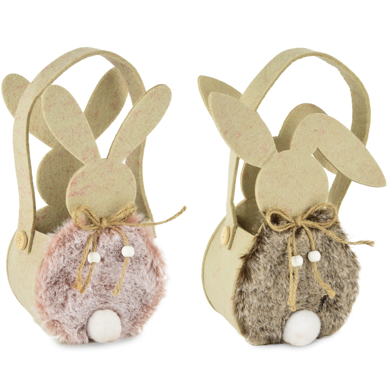 Set 2 zakjes vilt 'Fluffy bunny' roze/bruin