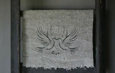 Doek shabby Love duiven 30 x 45 cm