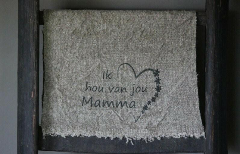Doek shabby 'Ik hou van jou Mamma' 30 x 45 cm
