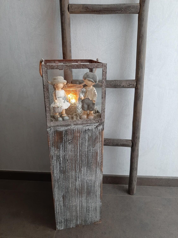Gevulde lantaarn large met koppeltje