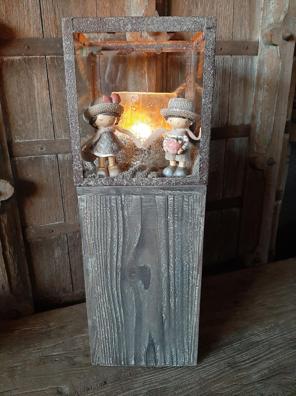 Gevulde lantaarn medium met koppeltje