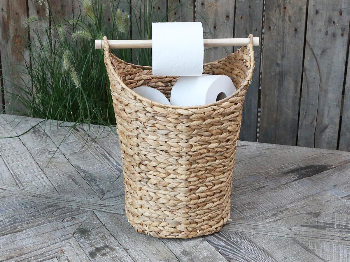 Mandje met toiletpapierhouder naturel