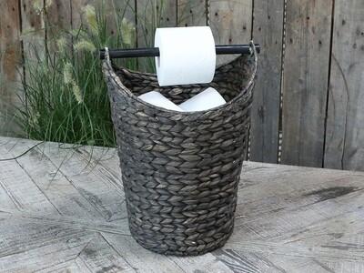 Mandje met toiletpapierhouder zwart
