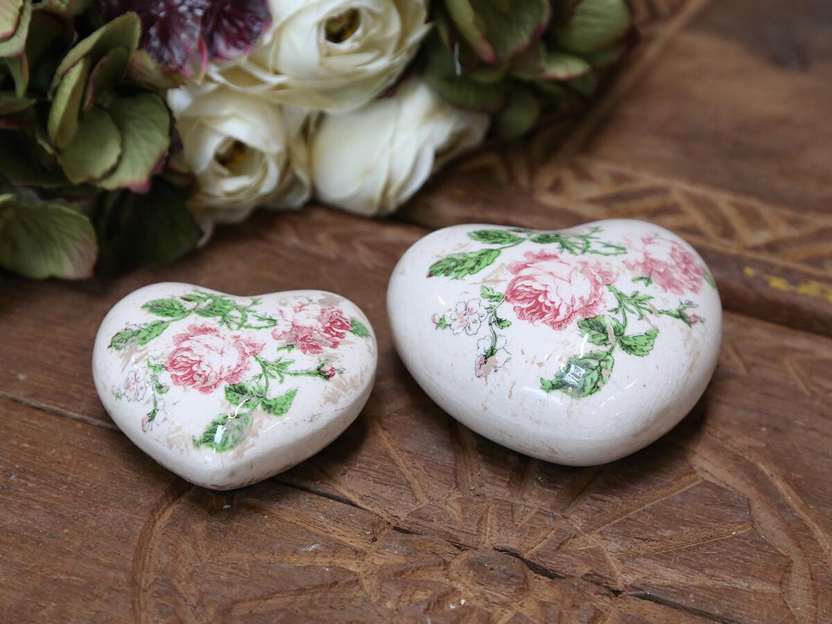 Set 2 hartjes met roosjes Toulouse