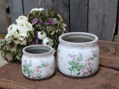 Bloempotje met roosjes klein Toulouse (links)
