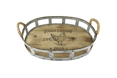 Dienblad ovaal hout/metaal 'Farm Fresh'